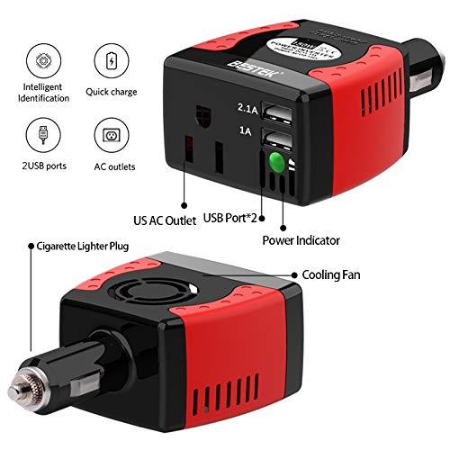 BESTEK 150W Power Inverter with 3.1A Dual USB Charging Ports Power Converter (MRI1511U)