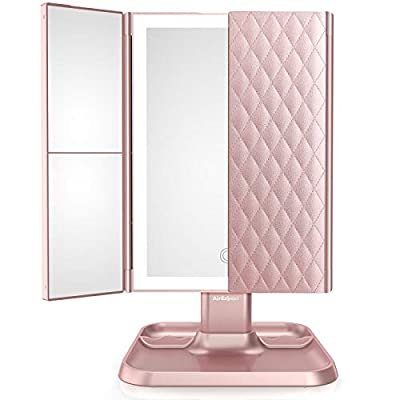 Makeup Mirror Vanity Mirror with Lights - 3 Color Lighting Modes 72 LED Trifold Mirror, Touch Control Design, 2x/3x Magnification, Portable High Definition Cosmetic Lighted Up Mirror