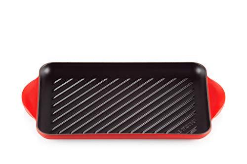 Le Creuset Parrilla Rectangular, Apto para todas las fuentes de calor, incl. inducción, Hierro fundido, Rojo(Cereza), 33 cm