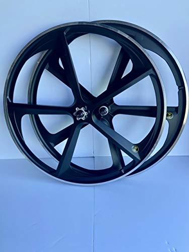 "R4 29"" BMX Cruiser Bicycle 5-Spoke Mag Alloy Wheel Set W/Freewheel (Matte Black)"