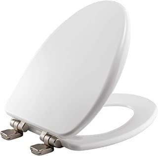 BEMIS 19170NISL 000 Alesio II Toilet Seat with Brushed Nickel Hinges will Slow Close, Never Loosen and Provide the Perfect Fit, ELONGATED, High Density Enameled Wood, White