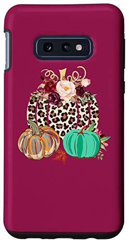 Galaxy S10e Happy Fall Floral Cheetah Burgundy Marsala Pumpkin Phone Case