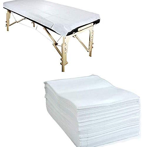 uyoyous Einweg Bettlaken aus Vliesstoff 100 Blatt 80 x 180cm Massagebettlaken Hygiene-Auflage Bettlaken für Betten Schönheitssalon SPA Massageliegen Tätowieren - Weiß