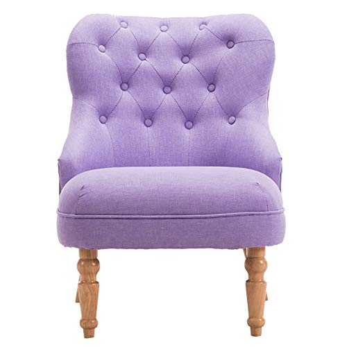 COLU Sofá De Tela Silla De Ocio Individual para Terraza Sofá De Madera Maciza, Adecuado para Tocador De Sala De Estar Y Dormitorio 0417S(Color:púrpura)