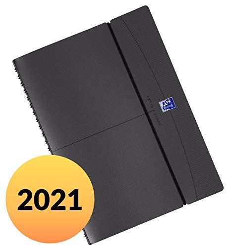 Oxford Jahreskalender 2021 Office A5 15X21 cm spiralgebunden mit 64 Blatt 2 Seiten = 1 Woche 90 g/m² Papier SCRIBZEE kompatibel dunkelgrau