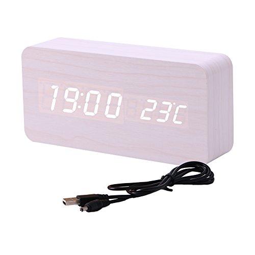 AERVEAL Reloj Despertador LED de Madera Digital electrónico Sonidos Control de Temperatura Escritorio, Rompecabezas