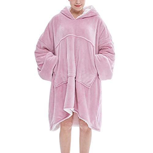 semen Damen Hoodie Oversize Damen Herren Übergroße Decke Sweatshirt Langarm Kapuzenpullover Pulli mit Taschen (Rosa, Einheitsgröße)