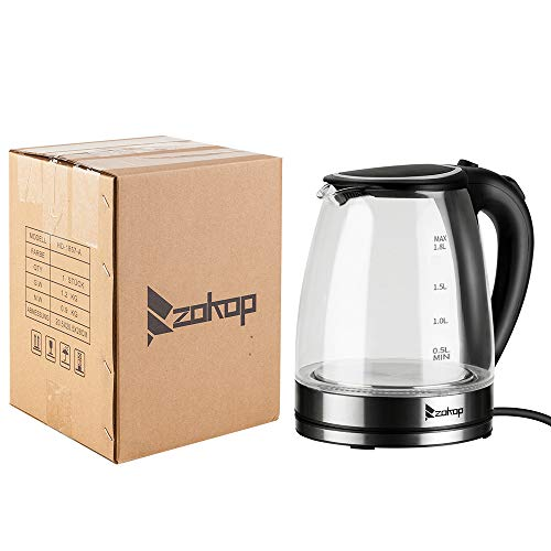 2Krmstr Electric Kettle, 1.8L Glass Auto Cut Off Anti-dry Protection Kettle with LED Light, the Best Hot Water Heater for Tea, Coffee, Soup, and More, HD-1857-A 110V 1500W