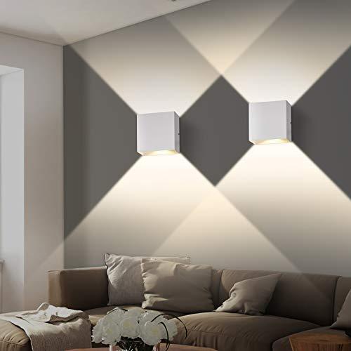Wandleuchte Innen 2 Stücke,[aktualisierte Version] OOWOLF LED Wandleuchte 3000K 6W, IP65 Wasserdichte Wandleuchte für Innen Außen, für Wohnzimmer, Treppe, Schlafzimmer,Garten[Energieklasse A++]