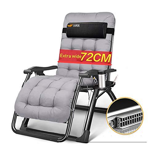 Fauteuils de salon inclinables Chaise extra-large sans gravité avec coussin épais, chaise longue de jardin pour chaises longues et coussins de jardinage avec oreiller réglable, supporte 330 lb