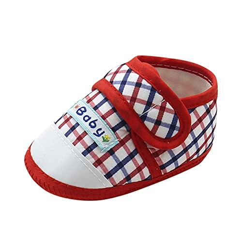 Zapatos para bebé para aprender a andar, para niños y niñas, con cierre de velcro, suela suave, transpirables, ligeros, zapatos de bebé, rojo, 13