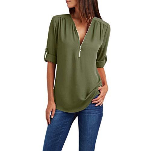 Zegeey Damen T-Shirt Oberteil Langarm ReißVerschluss Solide LöSen Chiffon Hemd Bluse Shirts Pullover Tunika(Armeegrün,48 DE/4XL CN)