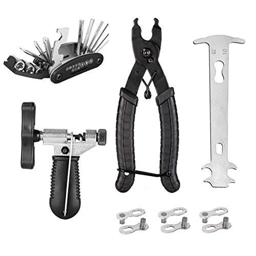 Engtic Bicycle Mountain Bike Chain Repair Tool Kit, Bike Chain Breaker Splitter, Bike Link Plier, Chain Checker, 3 Pairs Bicycle Missing Links, 16 in 1 Multifunction Screwdriver Socket Wrench