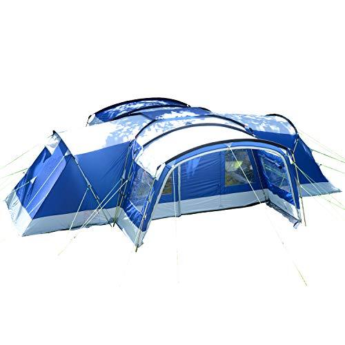 Skandika Familienzelt Nimbus für 12 Personen | Campingzelt mit 3 Schlafkabinen, wasserdicht, 5000 mm Wassersäule, 2,15 m Stehhöhe, versetzbare Frontwand, großer Wohnraum, 2 Eingänge