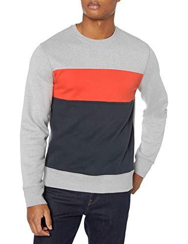Amazon Essentials Men's Fleece Crewneck Sweatshirt, Grey Heather/Orange/Navy, Large