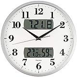 フォルミア(Formia) 掛け時計 電波 アナログ 温度 湿度 カレンダー 表示 夜間秒針停止 シルバー