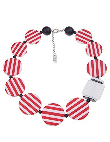 Leslii Damenkette Statement Stripes Round aus Kunststoff Länge 50cm in Rot Weiß