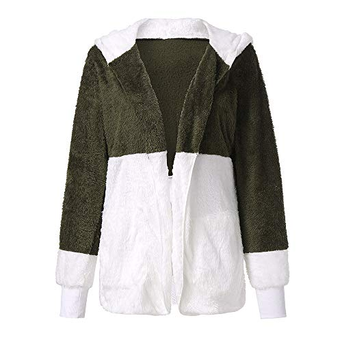 Yowablo Strickjacke Damen Cardigan Grobstrick mit Kapuze gefüttert Outwear Langarm für Herbst Winter Winterjacke (4XL,1- Armeegrün)