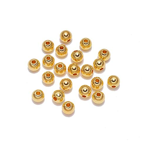 WESET 100pcs/bag With Hole ABS Imitation Pearl Beads 4/6/8/10/12MM Round Plastic Acrylic Spacer Bead (Color : Gold, Size : 12mm x 50pcs)