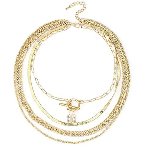Ushiny Punk Layered Halskette Gold Lock Anhänger Halsketten Hip Hop Halskette Kette Schmuck Zubehör für Frauen und Mädchen