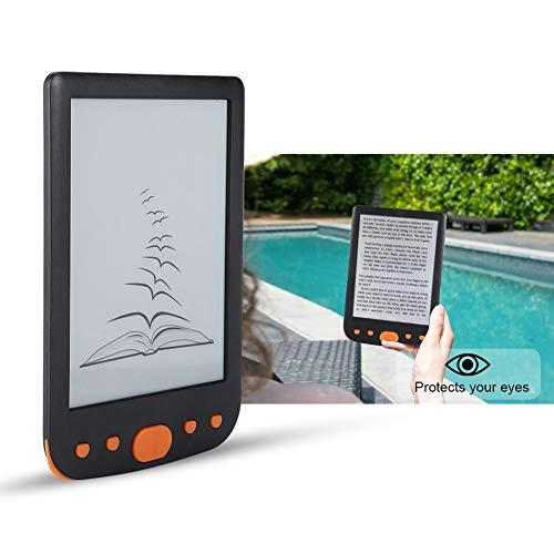E-Reader, BK-6025L, portátil, 6 polegadas, 8G, USB2.0, leitor de e-book, leitura digital com capa de couro, bateria integrada de 1800 mAh, vários idiomas, suporta cartão TF 32G, iluminação de tela (laranja)