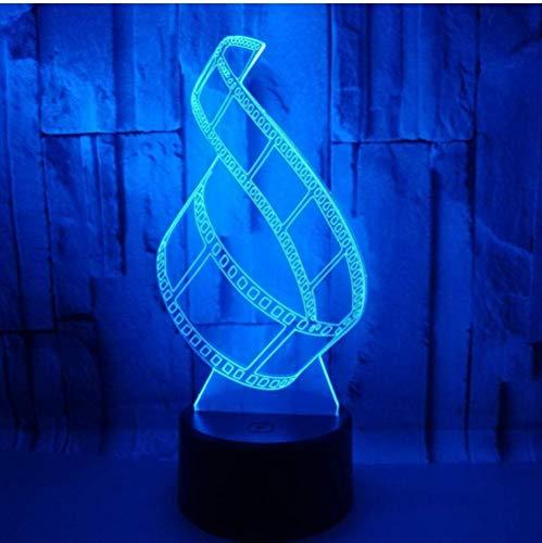Lámparas de escritorio Lámpara de acrílico transparente 3D Placa estereoscópica luminosa Película de cine 3D Luz de noche LED Novedad Lámpara para niños