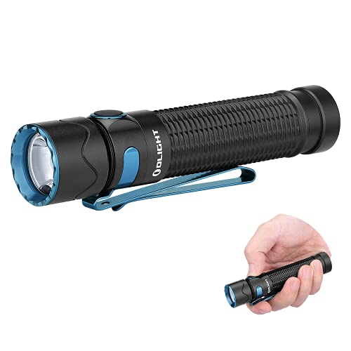 OLIGHT Warrior Mini 2 1750 Lumens Tactical Flashlight with Dual Switch and Proximity Sensor, MCC Rechargeable 3500mAh 18650 Battery EDC Flashlights for Camping, Outdoor, Emergency(Black)