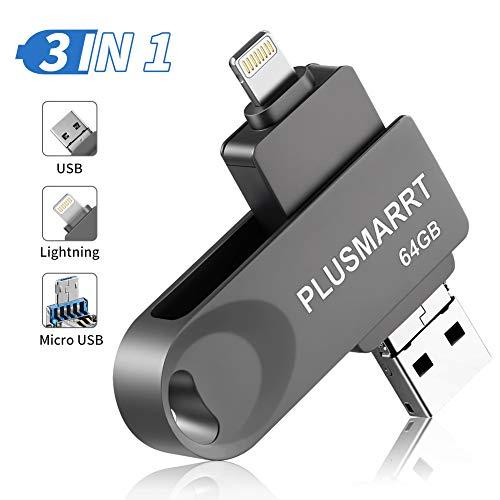PLUSMARRT USB Stick für iPhone, USB Stick 64G USB Speicher iPad Speichererweiterung für iPhone, iPad, Mac, Computer, Laptop, Grau