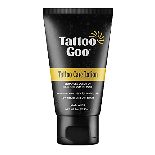 Tattoo Goo After Care Lotion, Moisturizing Natural Tattoo Lotion for Color Enhancement with Olive Oil, Healix Gold and Panthenol, Vegan and Petroleum-Free - 2 oz