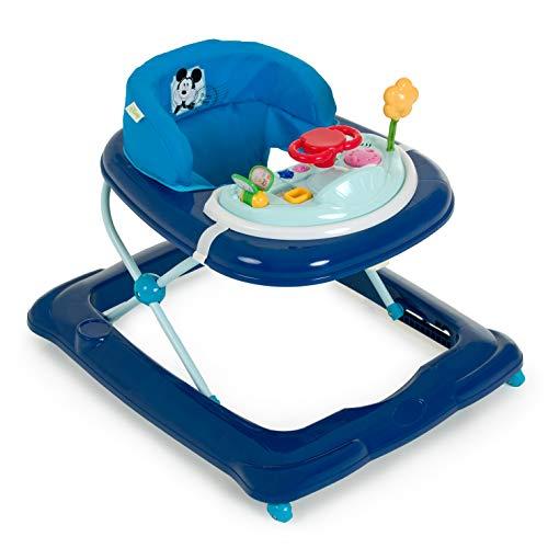 Hauck Player - Andador a partir de 6 meses hasta 12 kg, andador con música, mesa de juego multifuncional con ruedas, asiento acolchado y desmontable, regulable en altura, Mickey (azul)