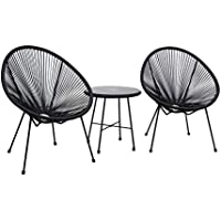 3-Piece Dukap Sassio Hand-Woven Conversation Patio Set (Black)