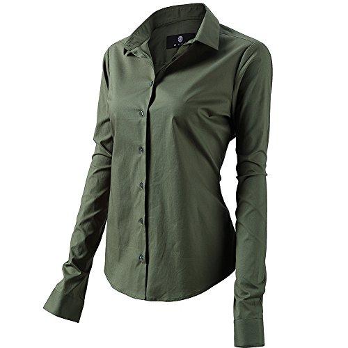 FLY HAWK Bluse Hemdbluse Damen Hemd Basic Kent-Kragen Elegant OL Work Slim Fit Langarm Stretch Formelle Hemden,Armee Grün, Größe 38, Hersteller - 10