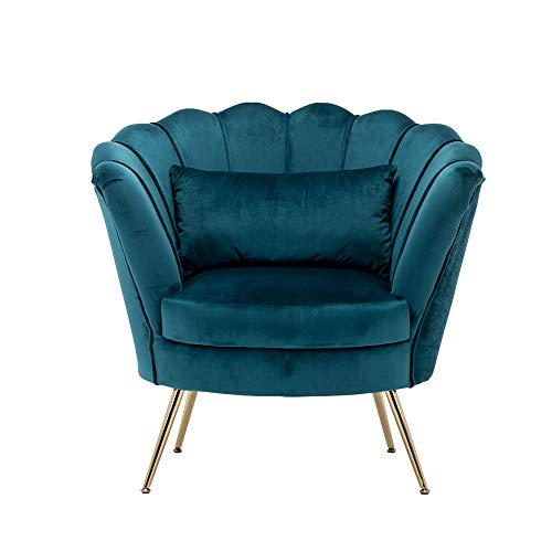 Velvet Accent Chair Modern Club Chair Comfy Single Sofa Reading Chair with Soft Pillow and Metal Legs Chair for Bedroom & Apartment (Green)