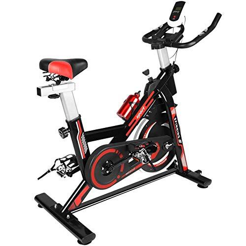 Stationäre Heimtrainer Indoorcycling Bikes Spin Bike For Heim Cardio Fitnessraum For Männer, Frauen Und Senioren Mit Herzfrequenzmesser, Silent-Riementrieb, IPad Halter, LCD-Monitor ( Color : Red )