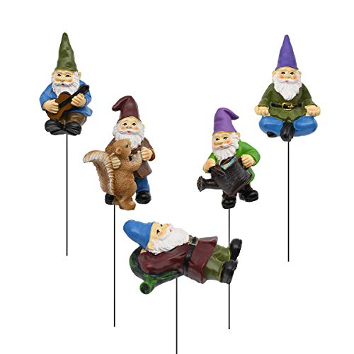 FANWNKI Garden Miniature Gnomes Set of 5PCS,Happy Life Gift for Outdoor Fairy Garden Yard Lawn Decor