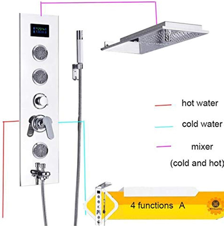 MICHEN Neue Edelstahl LED Duschpaneel Spalte Freie Kombination Wandmontage Chrom Dusche Wasserhahn Bad Wasserhahn,typeA