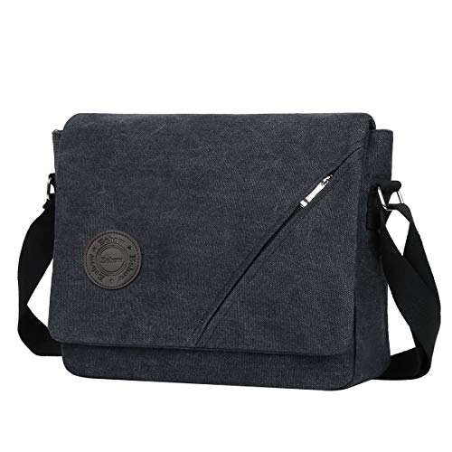 Eshow Men Messenger Bag canvas laptop Shoulder Bag for Men 14 inch Tablet Messenger Briefcase Work MacBook Pro Crossbody Bag Satchel for Casual Business School Travelling