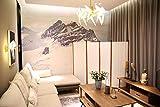 Angel Living Biombo Separador de 4 Paneles, Decoración Elegante, Palos con Cubrimiento de Grano de Madera, Separador de Ambientes Plegable, Divisor de Habitaciones, para el Hogar, 225X165 cm (Blanco)