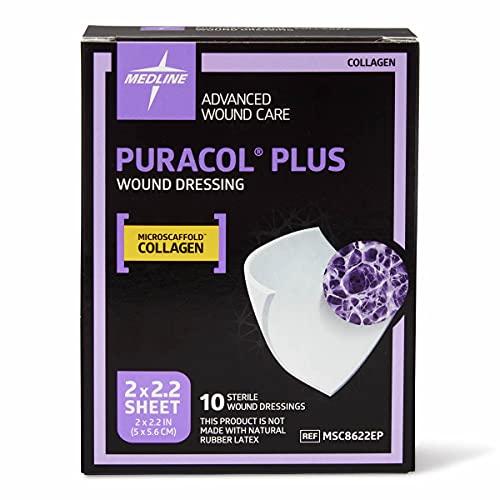 "Medline MSC8622EPZ Puracol Plus Collagen Dressings, 2"" x 2"" (Pack of 10)"