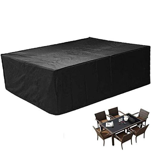 SEESEE.U Fundas para Muebles de Patio 150x150x75cm, Fundas Negras para Muebles de jardín Fundas de Mesa Impermeables para Exteriores 420D Tela Oxford, mesas y sillas de terraza Conjuntos Combinados