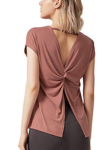 Material: 70% modal and 30% polyester, comfortable, light and flexible Design: Butterfly-style back and back-tie design shirts, two designs of shirts for sports and yoga, and a charming back Features: super soft, breathable, smooth, easy to care, c...