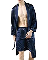 Lavnis Men's Satin Bathrobe Nightgown Casual Kimono Robe Loungewear Sleepwear Pajama Set with Shorts Blue XL