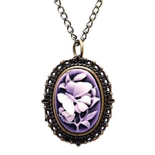 Reloj de bolsillo, retro para mujer, con diseño de mariposa, flor morada, pequeño collar,...
