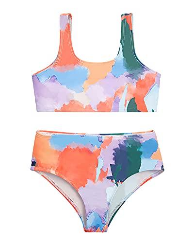 Roupa de banho Surf Girls Fish Scale Babado frente única biquíni praia esporte 2 peças/peça única roupa de banho, Várias cores, 9-10 anos