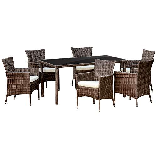 Outsunny Set Mobili da Esterno con 1 Tavolo e 6 Sedie da Giardino con Cuscini, Rattan PE e Metallo Zincato, Marrone