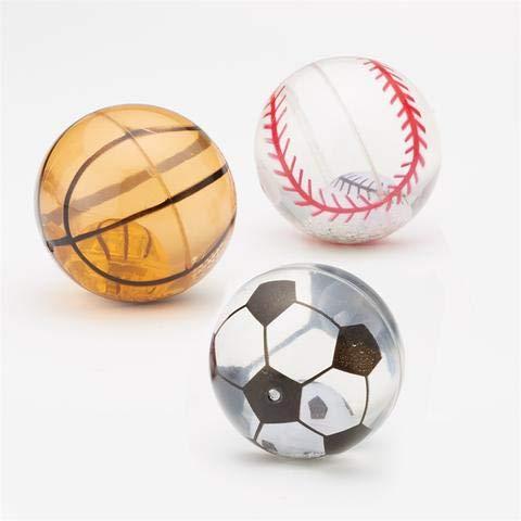 Twos Company 3 Sport-Ball-Flummis mit LED blinkendem Licht – Fußball Baseball und Basketball – perfekt für sportliche Kinder-Geburtstage