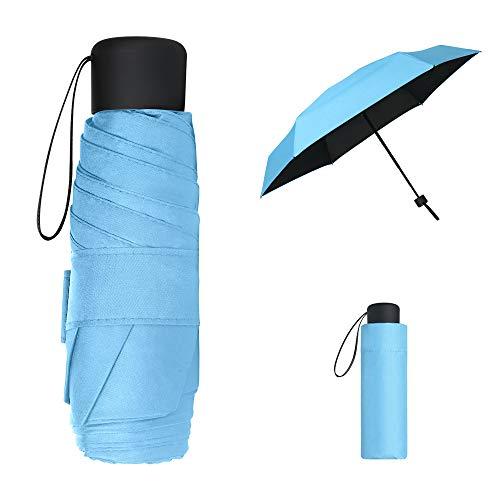 Vicloon Mini Regenschirm, Pocket Taschenschirm mit 6 Edelstahl Rippen, Sonnenschutz Regenschirm, Freien UV Faltender Regenschirm, Klein, Leicht, UV-Faltender für Erwachsene und Kinder - Blau