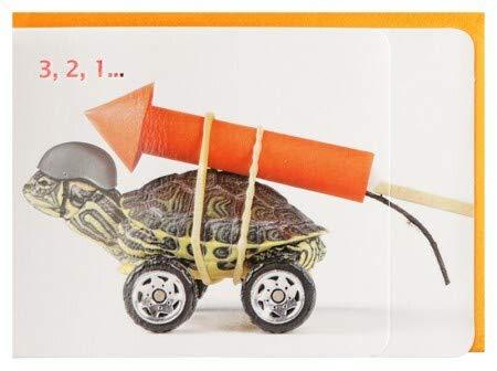 Geburtstagskarte witzig Countdown Schildkröte mit Rakete 3,2,1 A6