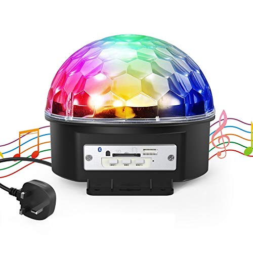 Disco Party Lights, Gvoo Bluetooth Sound Activated DJ Party Lights Rotating Ball Lights 10W 6 Modes RGB LED Stage Lights with Remote Control MP3 Player for Holidays Dance Parties Birthday