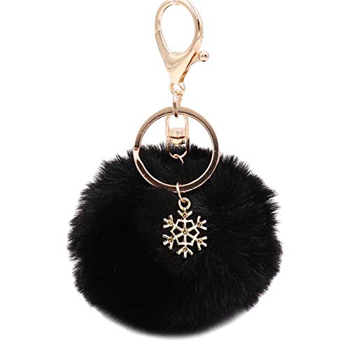 Xiuinserty Pom Pom Keychain with Snowflake Pendant Charms Furry Fluffy Plush Ball Keyring for Christmas Birthday Sweet Gifts